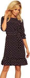 Czarna sukienka 4myself.pl w stylu casual z okrągłym dekoltem z długim rękawem