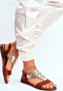 Brązowe sandały Sergio Leone