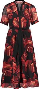 Czerwona sukienka BETTY & CO z krótkim rękawem z dekoltem w kształcie litery v maxi