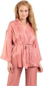 Różowy płaszcz Solotre w stylu casual