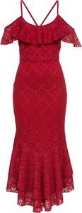 Czerwona sukienka bonprix BODYFLIRT boutique z dekoltem w kształcie litery v
