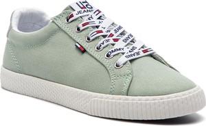 Zielone trampki Tommy Jeans ze skóry ekologicznej w stylu casual niskie