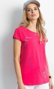 Różowy t-shirt Sheandher.pl z krótkim rękawem z bawełny