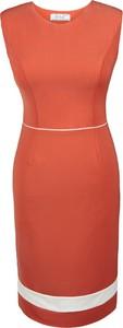 Pomarańczowa sukienka Fokus ołówkowa z okrągłym dekoltem midi