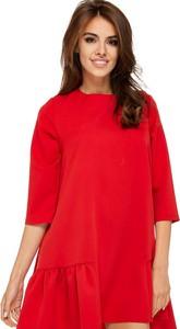Czerwona sukienka Ooh la la z długim rękawem