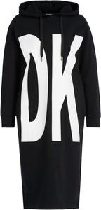 Sukienka DKNY z długim rękawem z okrągłym dekoltem midi