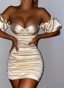 Sukienka Sandbella mini w stylu glamour z krótkim rękawem
