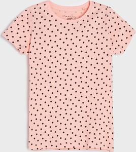 Różowa bluzka dziecięca Sinsay w groszki