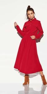 Czerwona sukienka Coco Style w stylu casual z długim rękawem