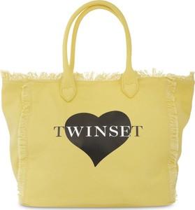 Żółta torebka Twinset duża z tkaniny