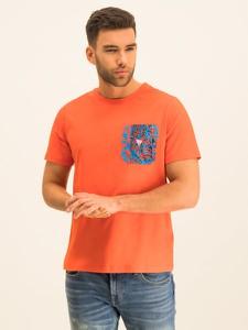 Pomarańczowy t-shirt Guess z krótkim rękawem