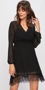 Czarna sukienka Liu-Jo z tkaniny mini z długim rękawem