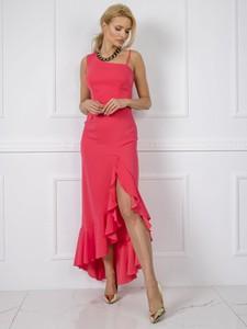 Różowa sukienka Sheandher.pl asymetryczna z okrągłym dekoltem