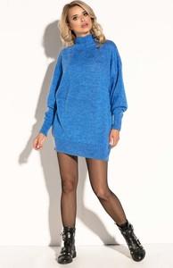 Niebieska sukienka Fobya z moheru