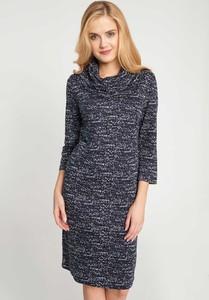 Granatowa sukienka QUIOSQUE w stylu casual z długim rękawem prosta
