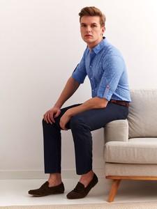 Niebieska koszula Top Secret z długim rękawem z tkaniny
