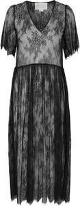 Czarna sukienka Notes Du Nord z dekoltem w kształcie litery v