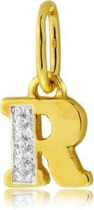 """Hosa Złota literka """"R"""" z cyrkoniami (łączone złoto)"""