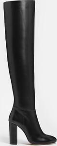 Czarne kozaki Kazar za kolano ze skóry na zamek