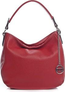Czerwona torebka Mia Tomazzi na ramię ze skóry