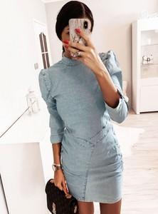 Niebieska sukienka Pakuten w stylu casual z długim rękawem dopasowana