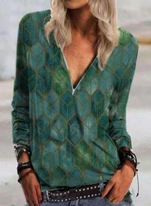 Bluzka Sandbella w stylu casual z długim rękawem z dekoltem w kształcie litery v