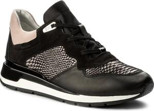 Czarne buty sportowe geox z płaską podeszwą