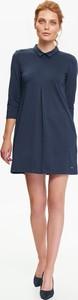 Granatowa sukienka Top Secret z długim rękawem z kołnierzykiem mini