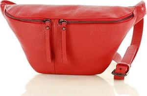 Czerwona torebka GENUINE LEATHER na ramię średnia ze skóry