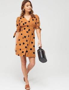Brązowa sukienka V by Very z lnu mini