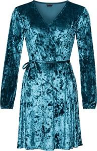 Turkusowa sukienka bonprix BODYFLIRT kopertowa z dekoltem w kształcie litery v