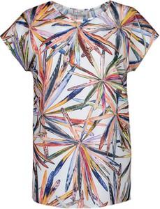 Bluzka Fokus z krótkim rękawem w stylu vintage z okrągłym dekoltem