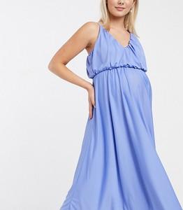 ASOS DESIGN Maternity – Niebieska sukienka midi na ramiączkach z głębokim dekoltem i luźną górą-Niebieski