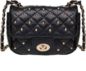 Czarna torebka Top Secret w stylu glamour z aplikacjami mała