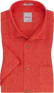 Czerwona koszula Signum z bawełny z krótkim rękawem