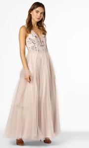 Sukienka Unique z dekoltem w kształcie litery v maxi z tiulu