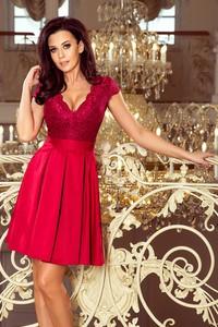 Czerwona sukienka NUMOCO z krótkim rękawem mini