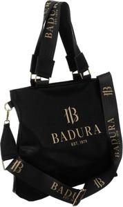 Czarna torebka Badura na ramię w stylu glamour ze skóry ekologicznej