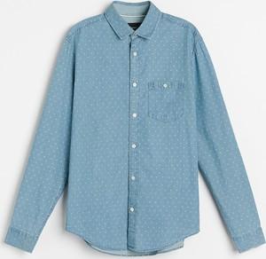 Niebieska koszula Reserved z jeansu w stylu casual z długim rękawem