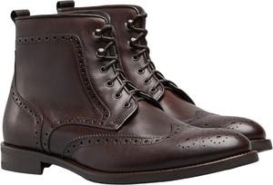 Brązowe buty zimowe Borgio ze skóry sznurowane