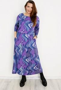 Fioletowa sukienka Soybella z dzianiny z długim rękawem w stylu casual