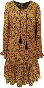 Brązowa sukienka Semper z długim rękawem w stylu boho z dekoltem w kształcie litery v