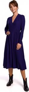 Niebieska sukienka Be z długim rękawem z bawełny midi