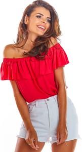 Czerwona bluzka Awama z krótkim rękawem