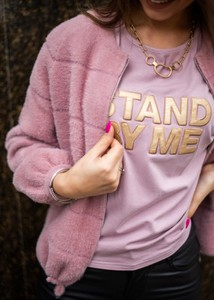 Różowy t-shirt Fason z bawełny z krótkim rękawem z okrągłym dekoltem