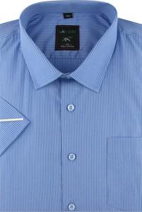 Niebieska koszula Laviino z krótkim rękawem z klasycznym kołnierzykiem z tkaniny