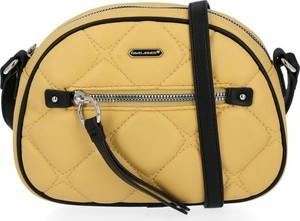 Żółta torebka David Jones pikowana na ramię