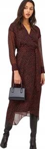Sukienka V by Very z dekoltem w kształcie litery v midi z długim rękawem