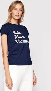 Granatowy t-shirt Drivemebikini w młodzieżowym stylu z okrągłym dekoltem