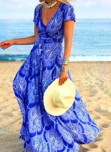 Niebieska sukienka Cikelly z dekoltem w kształcie litery v kopertowa w stylu boho